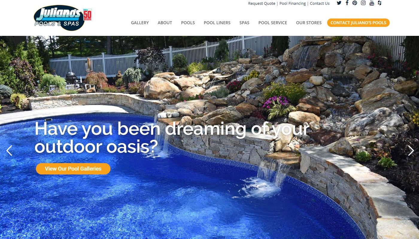 Julianos Pools - Web Design Worcester